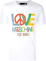 Love Moschino peace logo T-shirt - men - Cotton/Spandex/Elastane - M