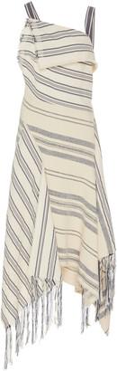 Monse Asymmetric Striped Cotton-Linen Dress