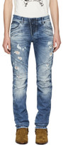Pierre Balmain Blue Destroyed Biker Jeans
