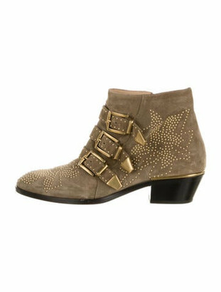 Chloé Suzanna Suede Western Boots Green