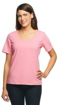 Denim & Co. Essentials Perfect Jersey Short Sleeve Square Neck Top