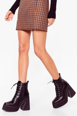 Nasty Gal Womens That's Flare Enough Lace-Up Platform Boots - Black - 5, Black