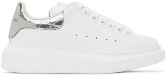 Alexander McQueen White and Silver Croc Oversized Sneakers
