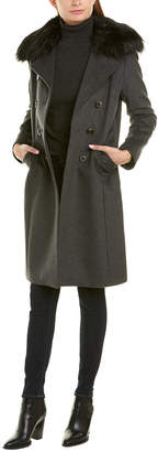 Tahari Long Wool-Blend Coat