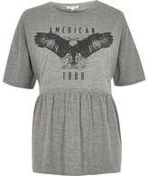 River Island Womens Grey print soft peplum rock T-shirt