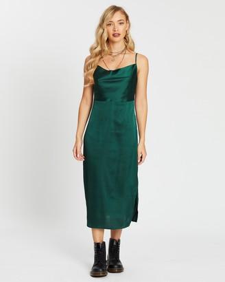 Missguided Satin Cowl Cami Slip Midi Dress
