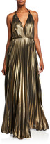 Aidan Mattox Pleated Foiled Chiffon Halter Gown