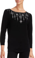 Ruby Rd Studded Boat Neck Knit Top