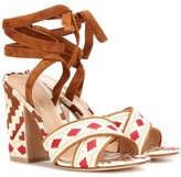Gianvito Rossi Cheyenne Embroidered Canvas Sandals