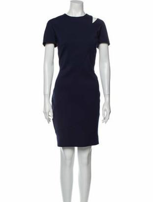 Victoria Beckham Crew Neck Knee-Length Dress Blue