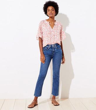 LOFT Petite Slim Pocket High Waist Straight Crop Jeans in Mid Indigo Wash