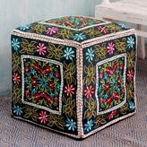 Novica Handcrafted Cotton Rayon 'Bollywood Blooms' Ottoman Cover (India)