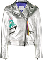 Mira Mikati whatever painted metallic biker jacket