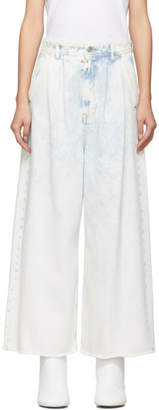 MM6 MAISON MARGIELA Blue Wide-Leg Cropped Jeans