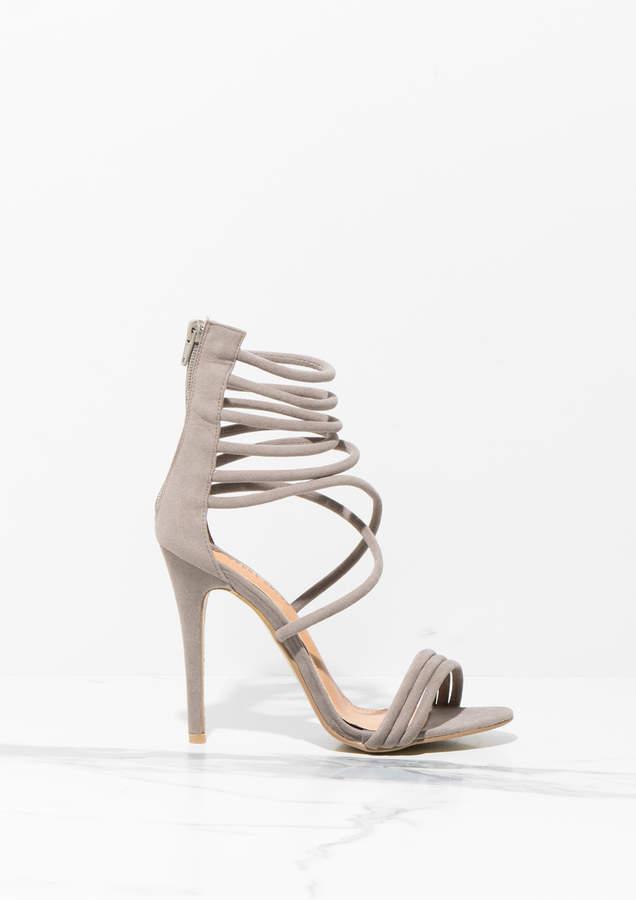 a0f875f95fe Melody Grey Faux Suede Strappy High Heels