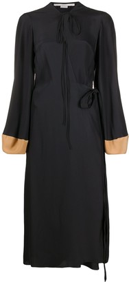 Stella McCartney Balloon-Sleeve Silk Midi-Dress