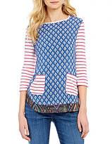 Westbound 3/4 Button Sleeve Multi Media Tunic Top
