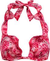 PETAL STORM Hot fuchsia floral print halterneck bikini top with frill detail