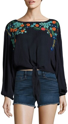 Free People Up And Away Embroidered Cropped Top