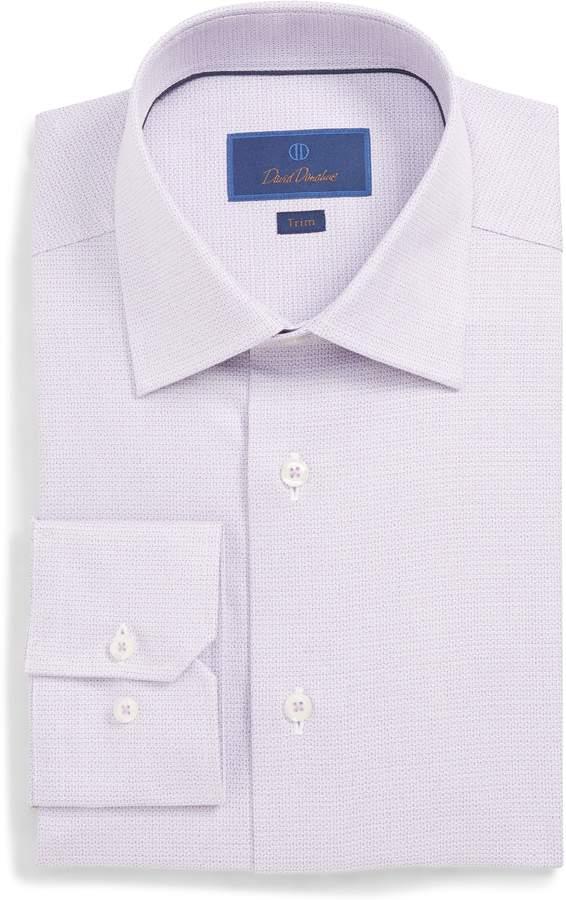 David Donahue Trim Fit Geometric Dress Shirt