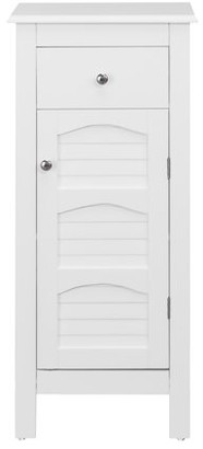 Elegant Home Fashions Sierra Small Space Bathroom Storage Floor Cabinet with One Door and One Drawer