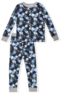 Max & Olivia Big Boy's 2 Piece Space Print Soft and Cosy Tight Fit Pajama Set
