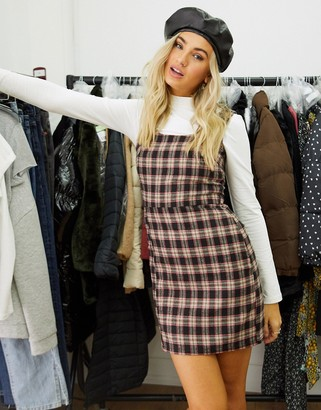 Heartbreak scoop neck tailored mini dress in brown and red check co-ord