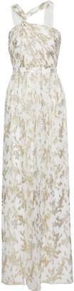 Rachel Zoe Twist-front Metallic Fil Coupe Silk-blend Chiffon Gown