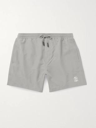 Brunello Cucinelli Mid-Length Logo-Print Swim Shorts