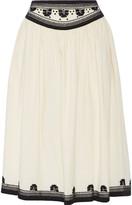 Suno Embroidered cotton skirt