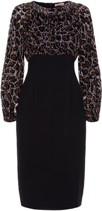 Traffic People Burning Fragments Wiggle Midi Dress In Gold And Black