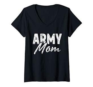 Womens Army Mom Proud Veteran Vintage Physical Fitness Workout Gift V-Neck T-Shirt