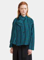 Issey Miyake Skew Wrap-Over Shirt in Turquoise and Black