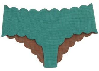 Marysia Swim Spring Reversible Scalloped-edge Bikini Briefs - Womens - Blue