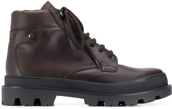 Prada lace-up ankle length boots