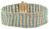 Carolina Bucci 18kt Yellow Gold Blue String Metallic Wire Woven Bracelet