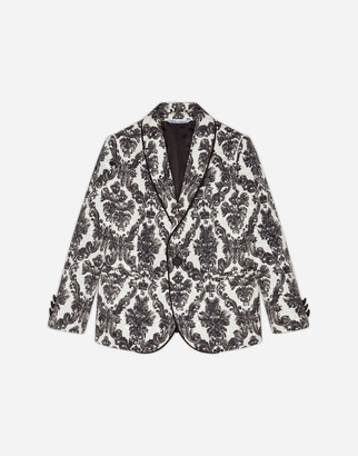 Dolce & Gabbana Single-Breasted Suit In Printed Ornamental Brocade
