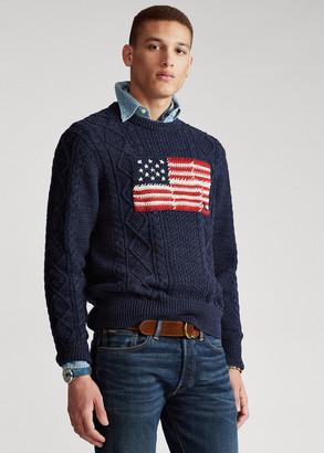 Ralph Lauren Aran Patchwork-Flag Sweater