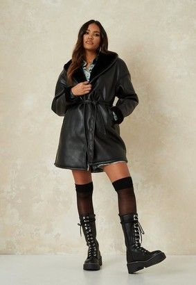 Missguided Black Faux Leather Shearling Longline Coat