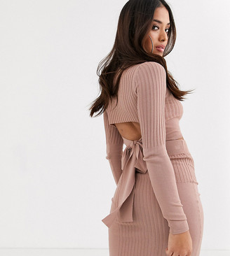ASOS DESIGN Petite co ord in structured rib with high neck and cut out back