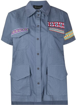 Mr & Mrs Italy Embroidered Patch Pleated Cotton Shirt