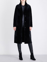 Drome Single-breasted reversible shearling and leather coat