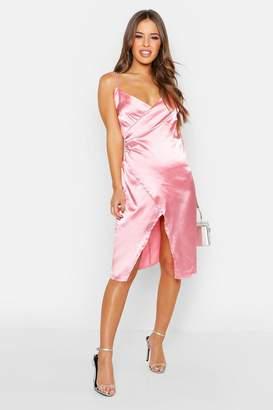 boohoo Petite Satin Wrap Midi Dress
