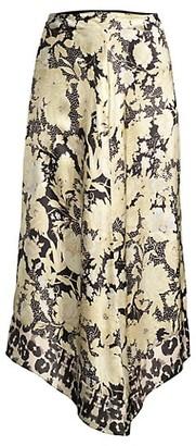 Rebecca Taylor Gold Leaf Floral Silk Midi Skirt