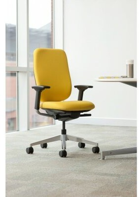 Steelcase Reply Task Chair Upholstery: Buzz2 - Alpine , Frame Finish: Black, Arms: Height Adjustable, Casters: Hard Floor Caster