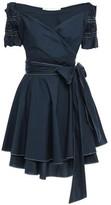 Jonathan Simkhai Off-the-shoulder Bow-detailed Taffeta Mini Wrap Dress