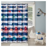 """Walter the Whale Microfiber Printed Shower Curtain - Navy - (72x72"""")"""