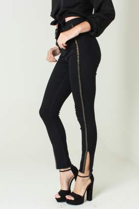 Funky Soul Mid Rise Black And Gold Jeans
