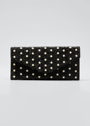 Judith Leiber Couture Envelope Pearly Beaded Clutch Bag