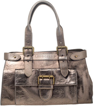 Longchamp Metallic Leather Front Pocket Satchel